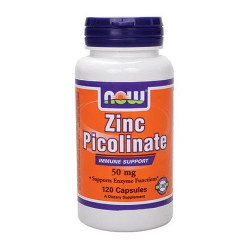 NOW Foods Zinc Picolinate, 120 Capsules / 50mg (Pack of 2)