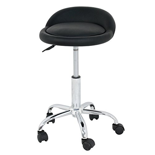 Black Pvc Swivel Seat Stools (LEMY Hydraulic Salon Rolling Stool Tattoo Massage Facial Spa Adjustable Stool Chair W/ Back Rest)