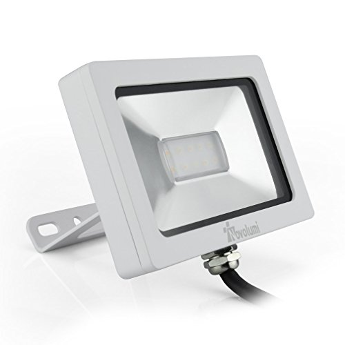 Novolumi® TUV 220V 10W IP65 Ultraslim Warmweiß LED Fluter Flutlicht 10 x 3030 SMD Leds Außen Strahler Scheinwerfer Baustrahler
