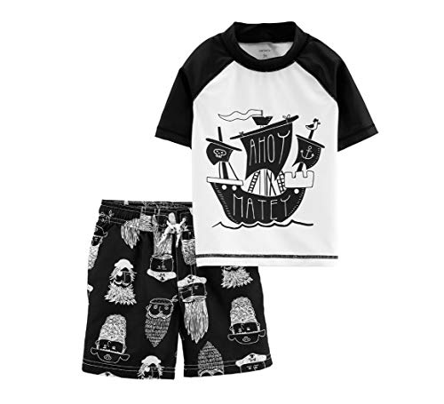 Carter's Toddler Boys' Rashguard Set (2T, White/Black/Pirate)