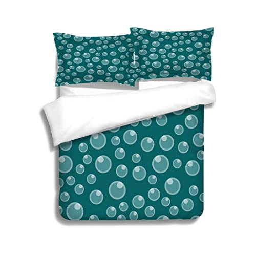 Family bed Light blue bubble seamless pattern colorful aquarium water wallpaper underwater background vector 3 Piece Bedding Set with Pillow Shams, Queen/Full, Dark Orange White Teal - Chipboard Bubble