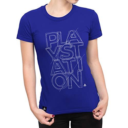 Camiseta Playstation Feminina Fractal - Azul Royal - G