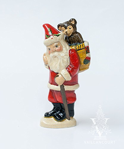 Vaillancourt Folk Art Teddy Bear Basket Santa, used for sale  Delivered anywhere in USA