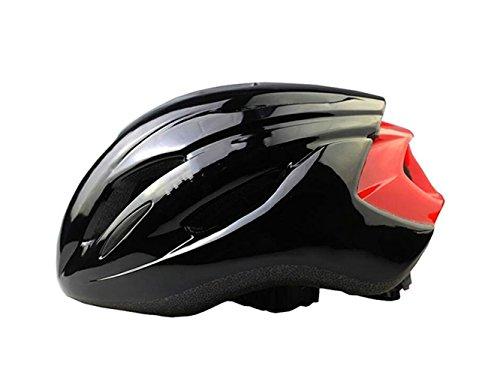 Yunqir Men Women Porous Mountain Bicycle Helmet One-Piece Bike Helmet(Black+Red) by Yunqir