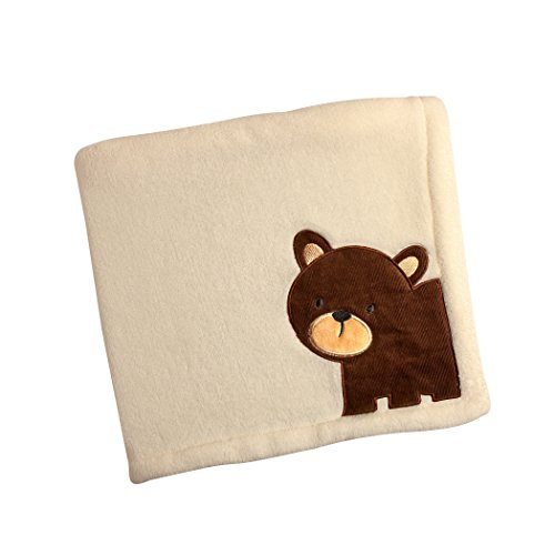 Carter's Friends Collection Baby Blanket and Coral Fleece with Bear Applique, Border/Bear by Carter's