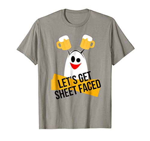 Let's Get Sheet Faced Ghost Halloween Costume T-Shirt ()