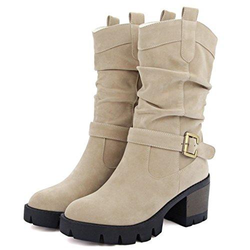Bloc Bottes Boots Mi A Femmes Enfiler Beige Mollet Slouch Plateforme TAOFFEN Talon qg0xU84wWE