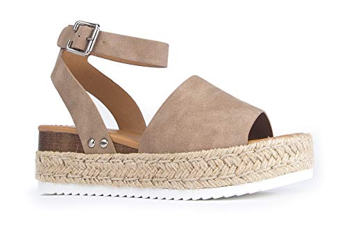 J. Adams Blair Espadrille Sandal - Straw Platform Open Toe Ankle Strap Sandals