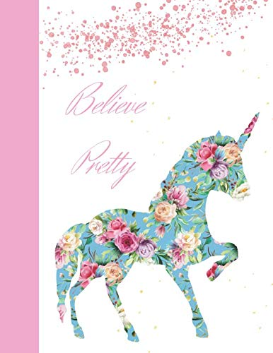Silhouette Floral Wallpaper - Believe Pretty: Silhouette Floral Unicorn College Ruled Composition Writing Notebook