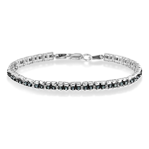 (Sterling Silver 1ct TDW Color Treated Double-Link Diamond Tennis Bracelet (Blue, I1-I2))