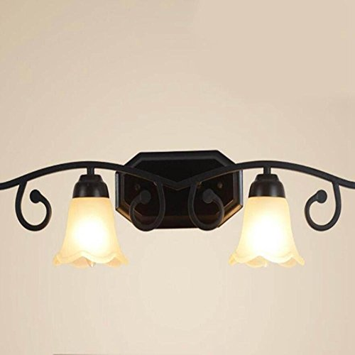 JIN Mirror Front Wrought Iron Wall Lamp Romantic Mediterranean Creative Personality Lampshade Bedroom Dresser Lamp , 2 Head Double Color by FBHVJ