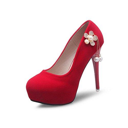 MZG Weibliche High Heels Frühling und Sommer-Herbst-Winter-Runde Kaschmir Gesicht Wasserdichte Tabelle reine Farbe und einzelne Schuhe Red