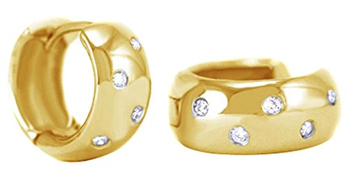 Round Cut White Natural Diamond Huggies Hoop Earrings In 14K Solid Yellow Gold (0.12 Ct) 14k Yg Diamond Earrings