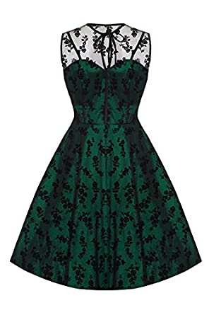New Emerald Green Lace Voodoo Vixen 50s Rockabilly Vintage Cocktail Party Dress - M