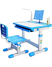 BRIGHTSHOW Kids Desk Table and Chair Set Adjustable Height Childs Study Desks School Student Writing Tables W/Pull Out Drawer Storage,Pencil Case,Bookstand,LED Light