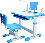BRIGHTSHOW Kids Desk Table and Chair Set Adjustable Height Childs Study Desks School Student Writing Tables W/