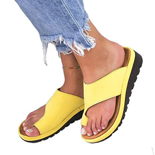 Women Summer Wedges Platform Sandals Stylish Thong Flip Flops Ultra Comfort Slippers Toe Loop Flat Sandals Yellow