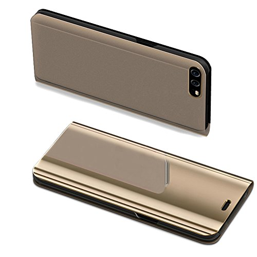 Huawei P10 Case,Huawei P10 Cover,ikasus Ultra-Slim Luxury Hybrid Shock-Absorption Plating Mirror Makeup Case Cover PU Leather Flip Stand Kickstand Protective Case Cover for Huawei P10,Gold by ikasus (Image #4)