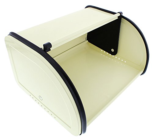 Juvale Bread Box For Kitchen Counter - Stainless Steel Bread Bin Storage Container with Roll Top Lid for Loaves, Pastries, and More - Retro/Vintage Inspired Design, Cream, 10 x 8.5 x 5.5 Inches by Juvale (Image #6)
