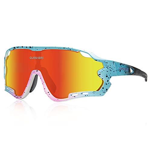 Queshark HD Gepolariseerde UV-bescherming Fietsbril Fietsbrillen voor Road MTB Bike 4 Lens