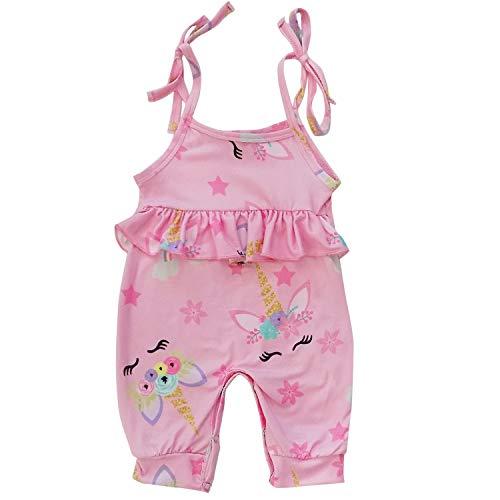 (So Sydney Girls Toddler Novelty Outift, Dress, or Romper Spring Summer Pastel Unicorn Collection (L (12-18 Months), Pink Jumpsuit))