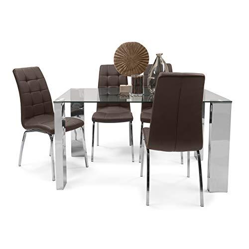 Homely - Conjunto de Comedor Karina II Mesa de 140x90 cm de Cristal y Acero Pulido y 4 sillas de Polipiel y Patas de Acero Cromado (Chocolate)