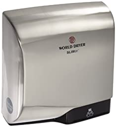 World Dryer L-971 SLIMdri Surface Mounted ADA Compliant Automatic Hand Dryer with Aluminum Brushed Chrome Cover, 120/208/240V