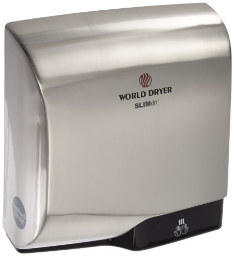 World Dryer L-971 SLIMdri Surface Mounted ADA Compliant Automatic Hand Dryer with Aluminum Brushed Chrome Cover, 120/208/240V ()