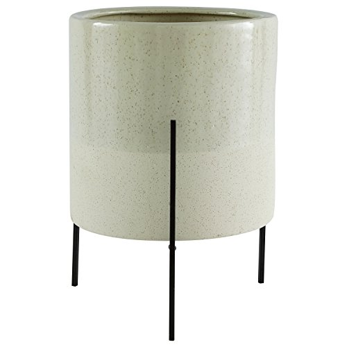 Concrete Round Planter - Rivet Mid-Century Modern Ceramic Indoor Outdoor Planter Flower Pot with Iron Stand - 17 Inch, Green