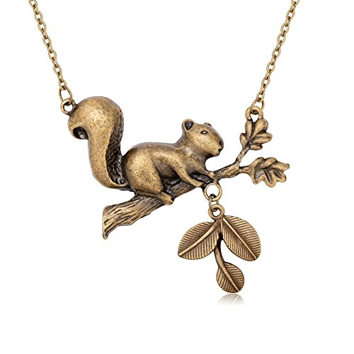 Squirrel Jewelry Pieces - TUSHUO Bronze-colored Squirrel Tree Branch Leaves Acorn Natural Necklace Best Holiday Gift For Anyone (1)