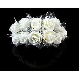 Sealike 144 Pcs Mini Artificial Rose Flower Wedding Bouquet Flower Bouquets Home Party Decor with Stylus 76