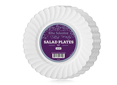 Of 25 White Disposable Party Plastic Plates With Silver Flower Rim (7.5 In Plate Silver Rim) ()