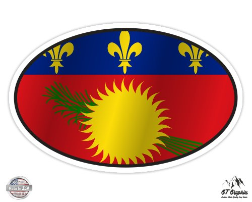 Guadeloupe Flag Oval - 3