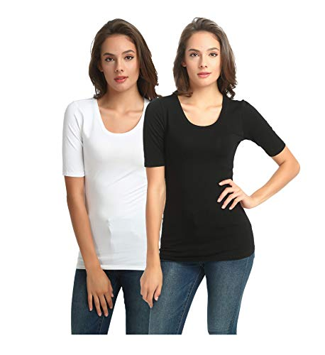 zhAjh Women's 2-Pack Crewneck 1/2 Half Sleeve Fitted Tee Cotton Modal Spandex T-Shirt(White/Black, Large)