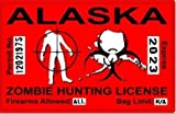 Alaska AK Zombie Hunting License Permit Red United States - Biohazard Response Team Automotive Car Window Locker Bumper Sticker