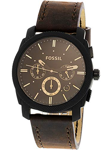 Fossil Mens Chronograph - Fossil Mens FS5251SET Machine Chronograph Dark Brown Leather Watch and Bracelet Box Set
