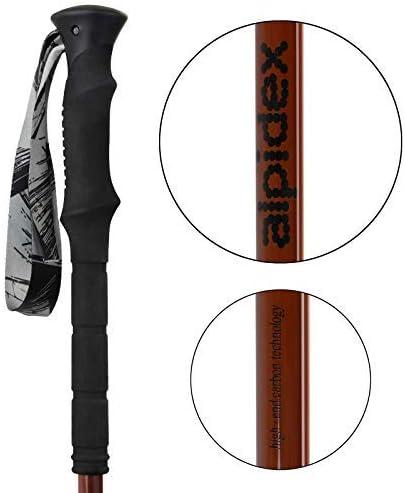 ALPIDEX Bastones telesc/ópicos Bastones Trekking Plegable Carbono con Abrazadera de Cierre