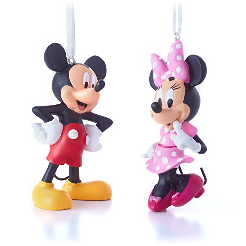 Hallmark Disney Minnie Bow-Tique and Mickey Mouse Clubhouse Christmas Ornaments, Set of 2 (Christmas Micky Mouse)