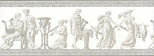 Wallpaper Border Designer Greek Roman Statues Gray Metallic Silver on - Raymond Designer Waites