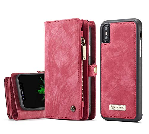 iPhone XR Wallet Case - MOONORN Premium Leather Zipper Purse Detachable Magnetic Flip Case iPhone X/XS Shockproof Cell Phone Case with Credit Card Slots (Red)