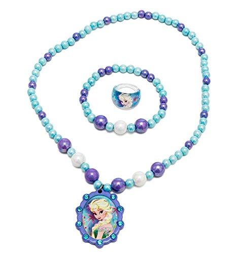 Disney Frozen Jewelry Box Set with Beaded Necklace, Beaded Bracelet & Ring