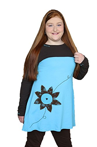 Womens Colorblock Turquoise Brown Clothing Applique Embroidered A-Line Jersey Tunic Fall Winter Long Sleeve Top Size Large by Francoise Lama-Solet