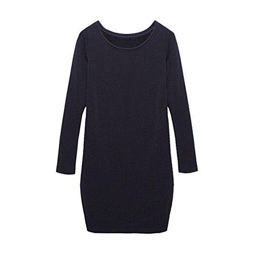 SODIAL(R) Automne / Hiver Femme Mirco Velours Col Rond Laine Epaississant Sexy Robe Jupe Bleu Royal 2XL