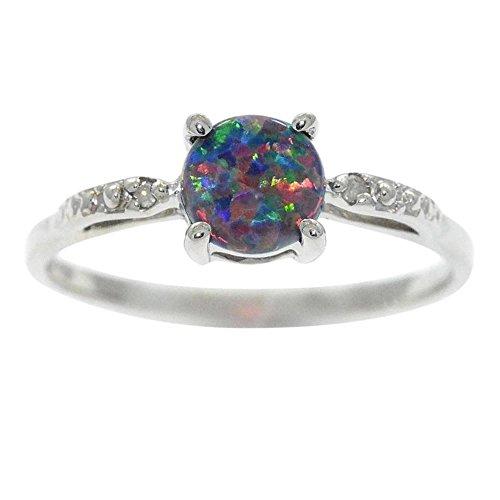 Elizabeth Jewelry Simulated Black Opal & Diamond Round Ring .925 Sterling Silver Rhodium Finish
