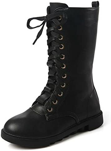DADAWEN Kid's Girls Leather Lace-Up