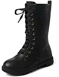 Kids Girls Leather Lace-Up Zipper Mid Calf Combat Riding Winter Boots (Toddler/