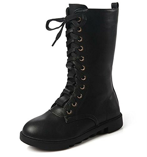 DADAWEN Kid's Girls Leather Lace-Up Zipper Mid Calf Combat Riding Winter Boots (Toddler/Little Kid/Big Kid)