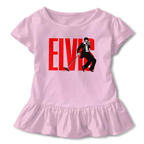 Kid T Shirt Elvis Presley 3D Tee Baseball Ruffle Short Sleeve Cotton Shirts Top for Girls Kids Pink