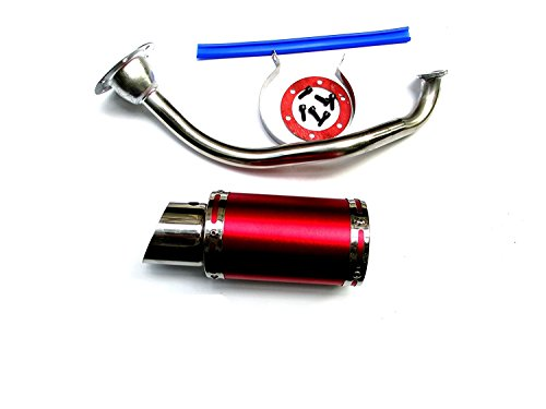 NEW! High Performance Exhaust System Muffler for GY6 50cc-400cc 4 Stroke Scooters ATV Go Kart (Red)