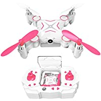 Kingtoys Mini RC Drone 100W HD Camera Collapsible Quadcopter with 2.4GHz 6-Axis Gyro and WiFi FPV (Rose Red)